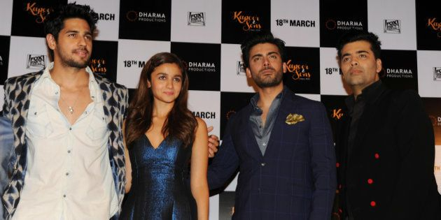 Indian Bollywood actors (L-R)  Sidharth Malhotra, Alia Bhatt and Pakistani actor Fawad Khan and producer Karan Johar attend the trailer launch of 'Kapoor & Sons'.