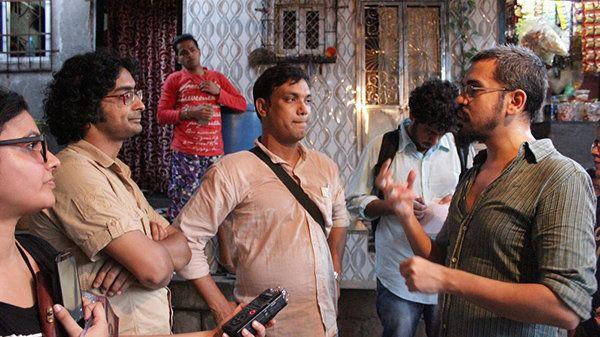 Jishnu Bhattacharjee (DOP), Shamim Khan (Art Director) & Dev Makhija (Director) discussing a
