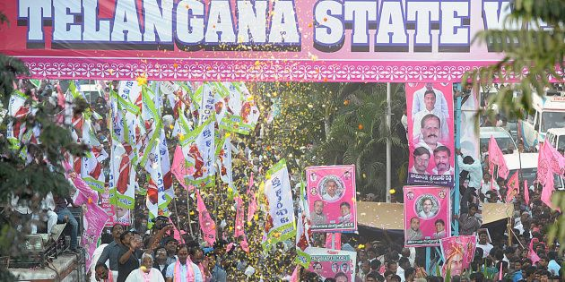 File photo of Telangana Rashtra Samiti (TRS) party president K. Chandrasekhar Rao and other officials...