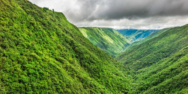 Storm clouds gather over the Khasi Hills with densely forested slopes and deep gorges near Cherrapunjee,...
