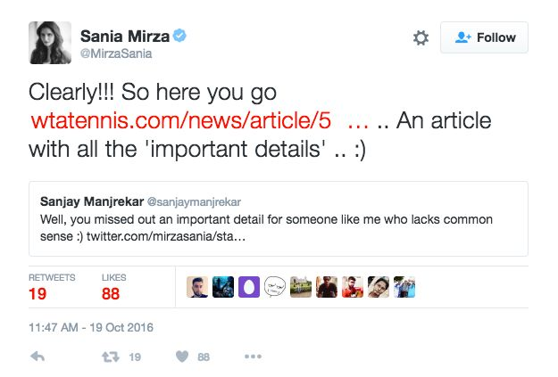 Sania Mirza Returns Sanjay Manjrekar's Twitter Lob With A Volley