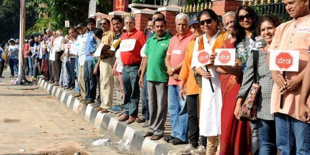 Bengaluru residents form human chain against the construction of a steel