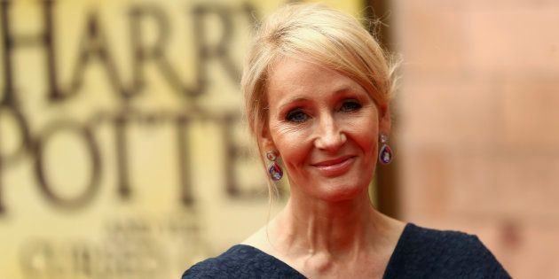 J.K. Rowling poses for photographers at a gala performance of the play Harry Potter and the Cursed Child...