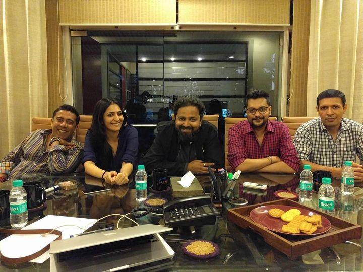 The writers' room: (L-R) Gauravv K Chawla, Eisha Chopra, Nikkhil Advani, Aniruddha Guha, and Aseem Arora.