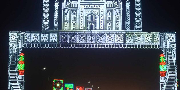 Taj Mahal ,The World famous Chandannagar Lighting decoration on the occasion for Kali Puja and Deepawali...