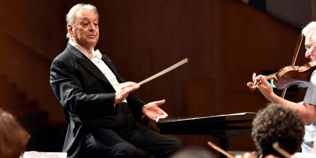 Music conductor Zubin Mehta rehearses with the Orchestra at NCPA on April 17, 2016 in Mumbai,