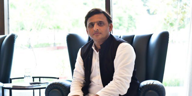 Image of Chief Minister of Uttar Pradesh Akhilesh Yadav during an exclusive interview with Hindustan...