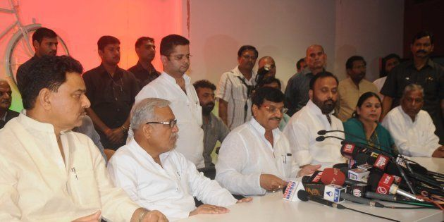 Samajwadi Party leader Shivpal Singh Yadav along with other sacked ministers from Uttar Pradesh Chief...