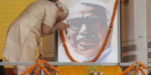 Prime Minister Narendra Modi paying tribute to former Deputy Prime Minister Babu Jagjivan Ram on his...