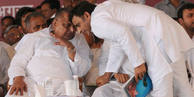 File photo of Uttar Pradesh Chief Minister Akhilesh Yadav and Samajwadi Party president Mulayam Singh