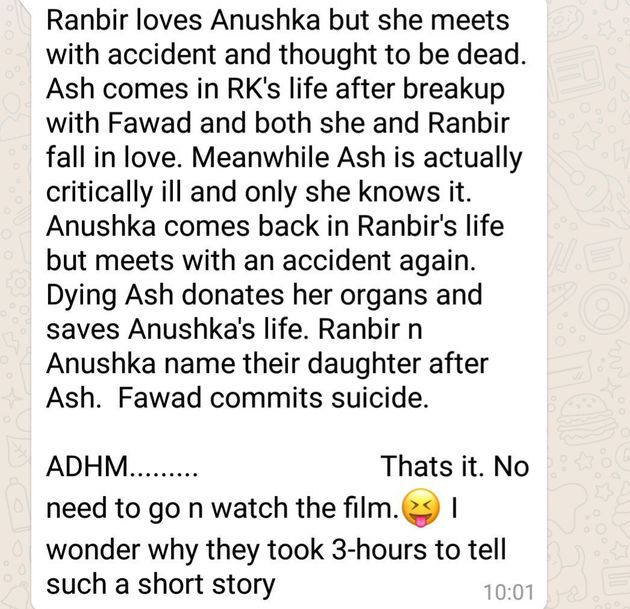 This 'Ae Dil Hai Mushikil' WhatsApp Message Doing The Rounds Is Way, Way Off The
