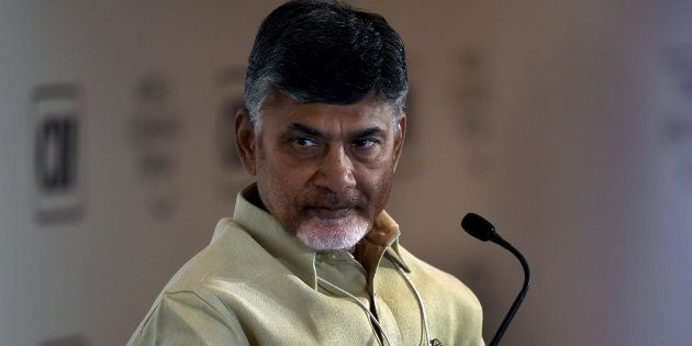 Chief Minister of Andhra Pradesh, N. Chandrababu Naidu looks on as he attends the session 'Cities as...