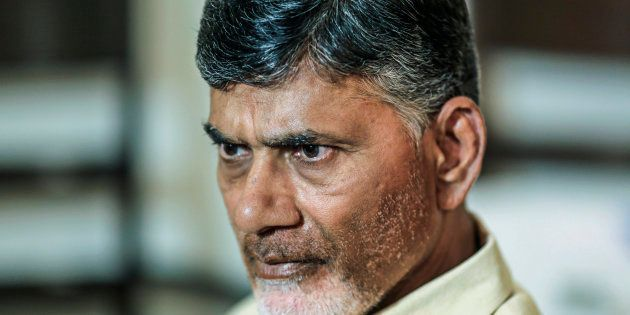 N. Chandrababu Naidu, chief minister of Andhra Pradesh, listens during an interview in Delhi, India,...