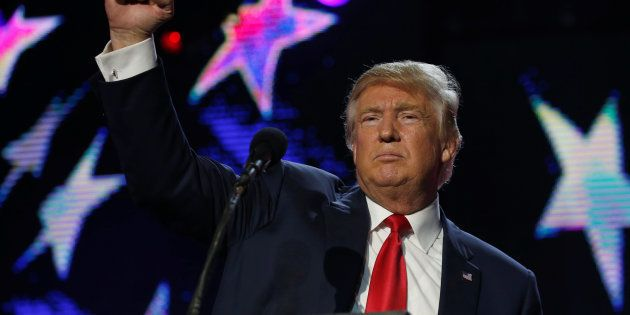 Republican presidential nominee Donald Trump speaks at a Bollywood-themed charity concert put on by the...