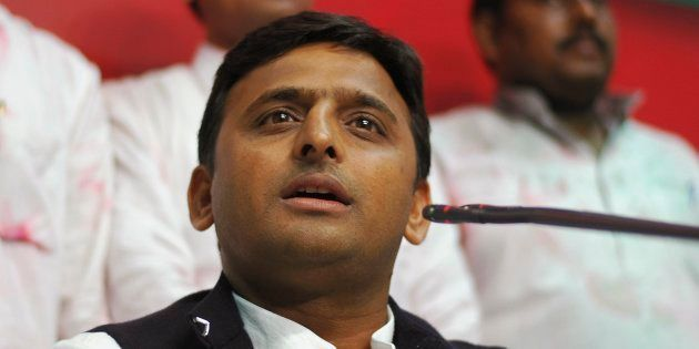 Akhilesh Yadav, state party president and son of the Samajwadi Party President Mulayam Singh Yadav, speaks...