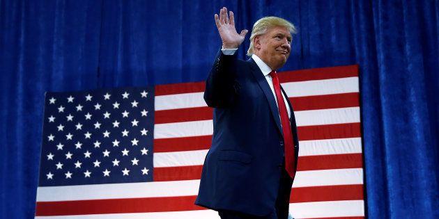 Republican presidential nominee Donald Trump arrives for a campaign rally in Greeley, Colorado, U.S....