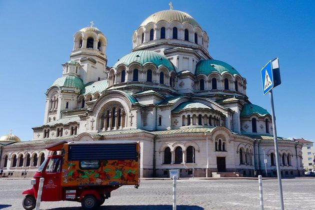 Rabelli's solar tuk-tuk at the Saint Alexander Nevski Cathedral in Sofia,