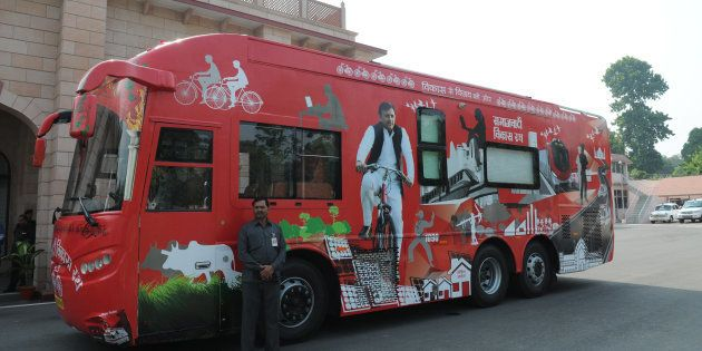 The hi-tech bus that will be used as Samajwadi Vikas Rath of Uttar Pradesh Chief Minister Akhilesh