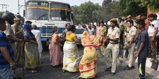 Relatives and family members block traffic outside Sushruta Trauma Centre after the death of Karuna Kumar,...