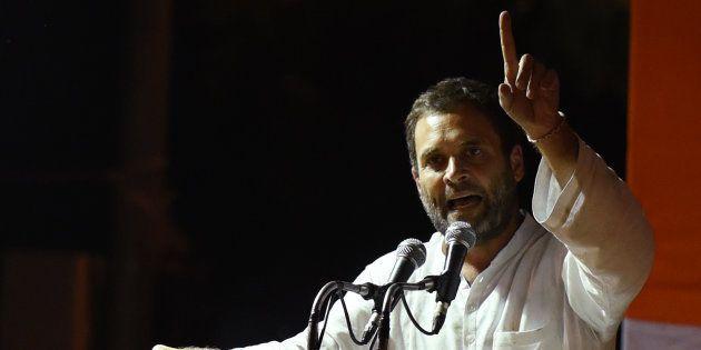 Congress Vice President Rahul Gandhi addresses farmers at Jantar Mantar, after his month-long Kisan Yatra...