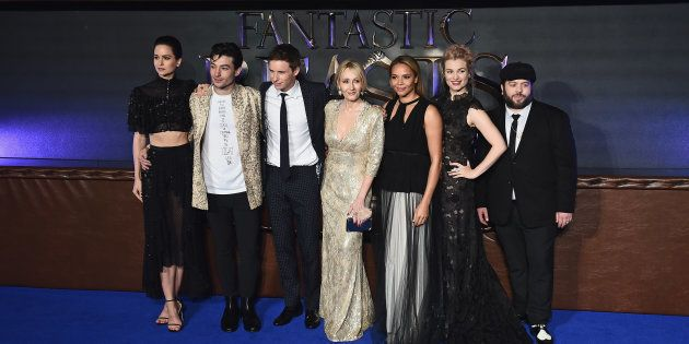 Katherine Waterston, Ezra Miller, Eddie Redmayne, J. K. Rowling, Carmen Ejogo, Alison Sudol and Dan Fogler attend the European premiere of 'Fantastic Beasts And Where To Find Them' at Odeon Leicester Square on November 15, 2016 in London, England.  (Photo by Jeff Spicer/Getty Images)