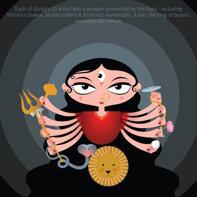 Delhi Artist Simplifies Story Of Durga And Mahishasur For Kids In Adorable