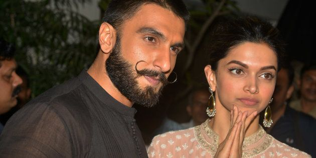 MUMBAI, INDIA DECEMBER 17: Deepika Padukone and Ranveer Singh at the Special Screening of their upcoming...