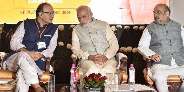 File photo of Prime Minister Narendra Modi, Amit Shah, President of the Bharatiya Janata Party (BJP),...