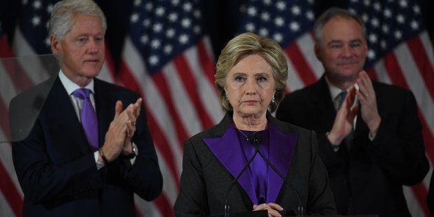 Hillary Clinton speaks during a press conference at the Wyndham New Yorker Hotel the day after the election...
