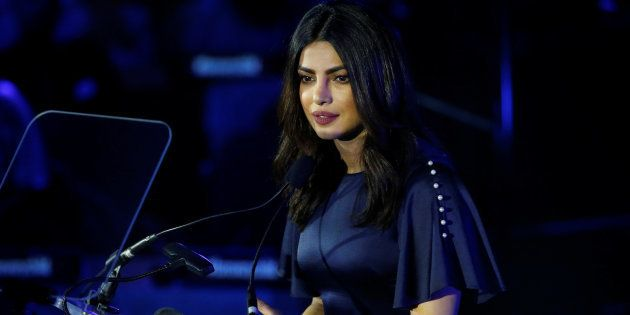 Priyanka Chopra delivers remarks at the UNICEF 70th anniversary event at the United Nations Headquarters in Manhattan, New York City, U.S., 12 December, 2016.