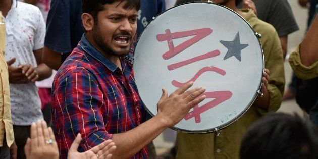 JNUSU President Kanhaiya Kumar protests as he was fined of ₹10,000 by the authorities of JNU High Level...