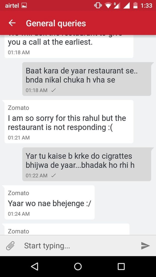 This Customer's Exchange With The Zomato Customer Care Executive Will Leave You In