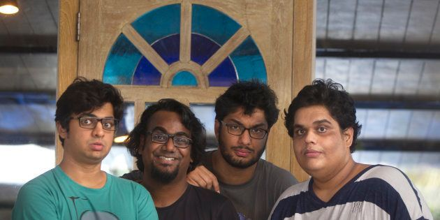 Members of Indian comedy group All India Bakchod or AIB (L-R) Rohan Joshi, Ashish Shakya, Gursimran Khamba and Tanmay Bhat.