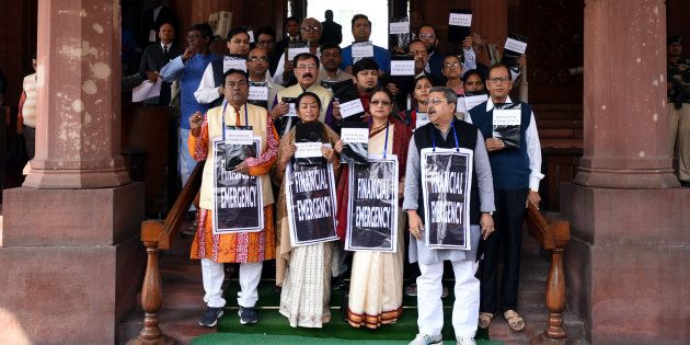 TMC members protest at the