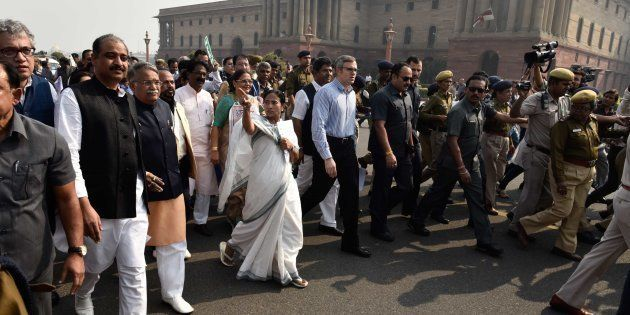 TMC leader and West Bengal Chief Minister Mamata Banerjee and former J&K CM Omar Abdullah lead a delegation...