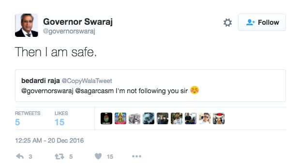 Mr Swaraj Is Having A Ball Replying To Accounts Blocked By Sushma Swaraj On