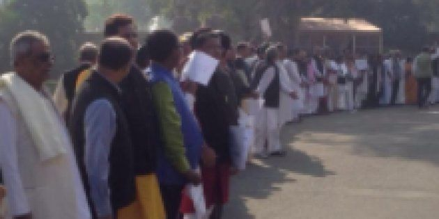 Demonetisation: Opposition Forms Giant Human Chain Outside Parliament, Demands PM Modi's Presence In...