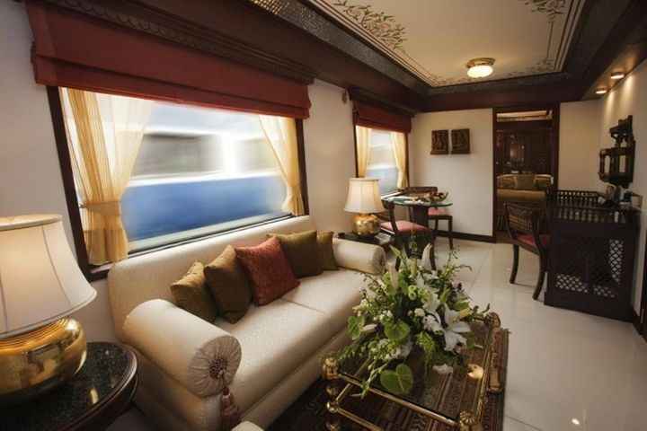 Each cabin on the Maharajas' Express has large windows, as well as live television, Wi-Fi, international telephone facility, a DVD player, temperature-controlled air-conditioning and round-the-clock valet service.