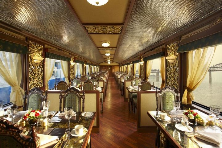 The Maharajas' Express has two fine dining restaurants, the Mayur Mahal and Rang Mahal, which can seat 42 guests each.