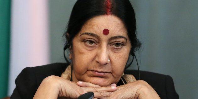 Sushma Swaraj. Photo by Sergei Savostyanov/TASS via Getty