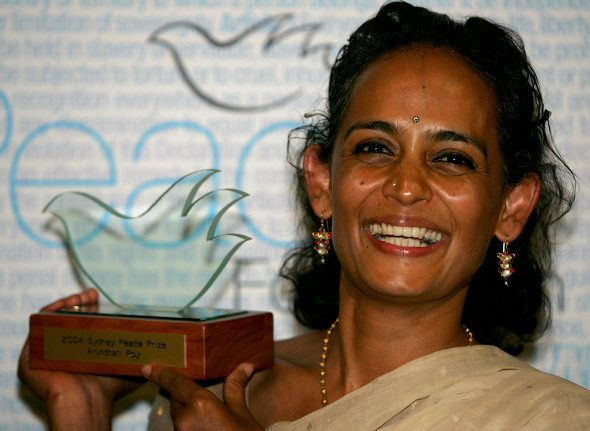 Arundhati Roy holds the Sydney Peace Prize after a presentation at Sydney University November 4,