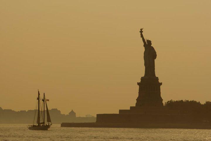 Boat near Statue of Liberty, New York