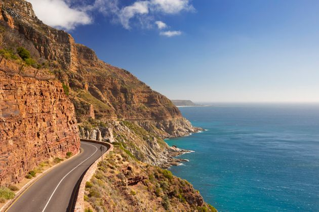The Chapman's Peak Drive on the Cape Peninsula near Cape Town in South Africa on a bright and sunny