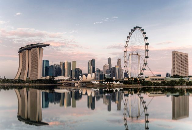 Singapore skyline at dawn, showing the Marina Bay Sands and the