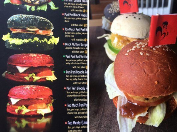 Menu picture of red burger compared to