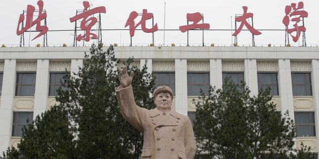 A statue of late Chairman Mao Zedong is pictured at Beijing University of Chemical Technology in Beijing,...