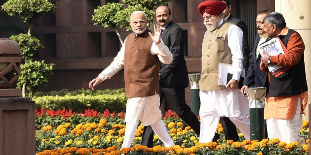 Prime Minister Narendra Modi leaves after the Bharatiya Janata Party parliamentary party meeting to attend...