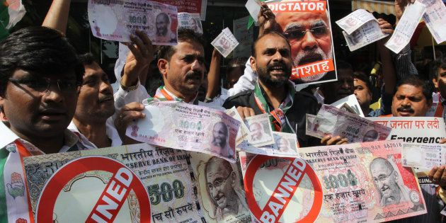 Congress workers protest against demonetisation in