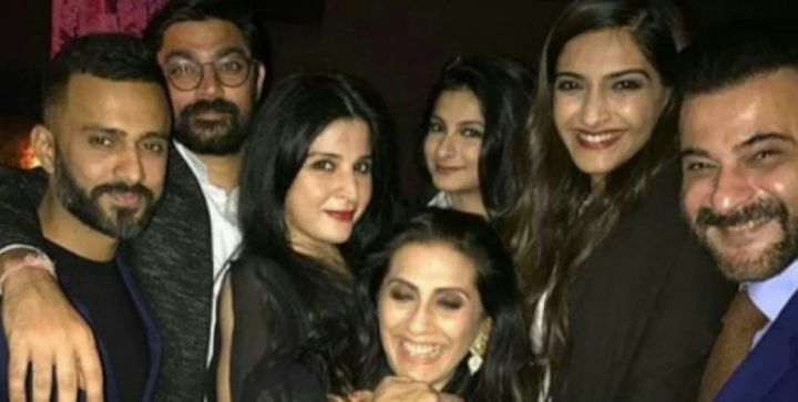 Sonam Kapoor with Anand Ahuja (Extreme left) in London celebrating Anil Kapoor's 60th birthday.