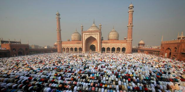 Morning prayers at Jama Masjid mosque in Delhi during